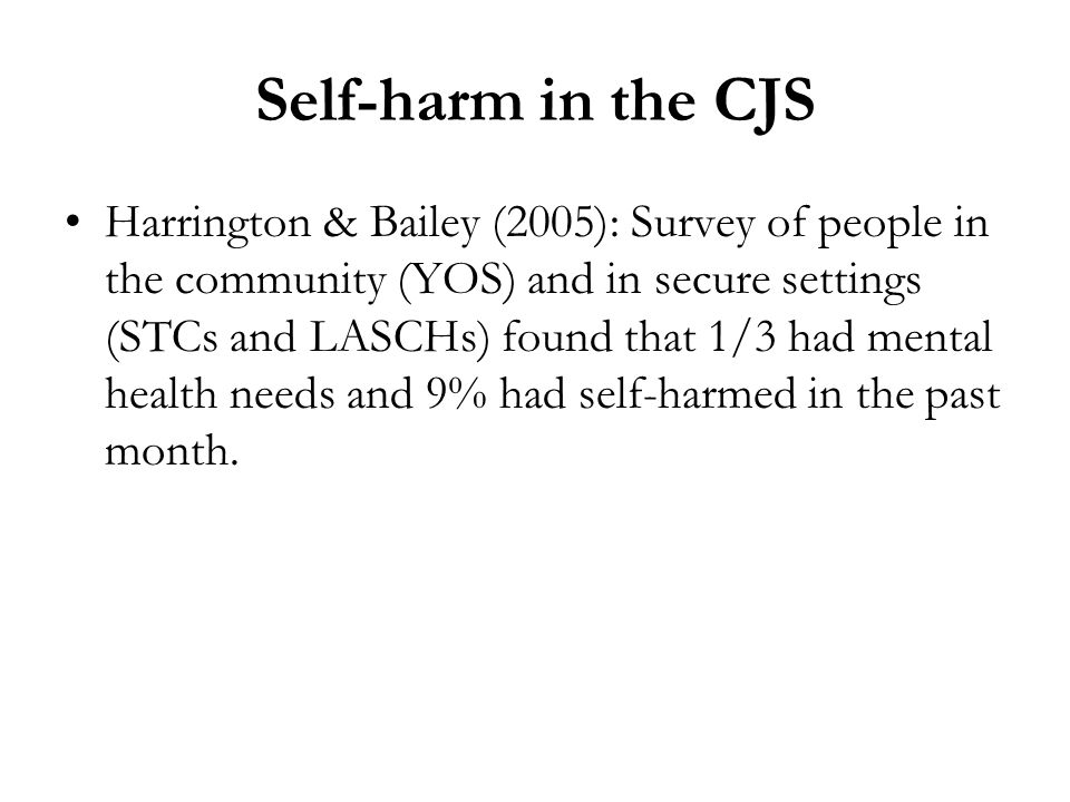 Self-harm in the CJS