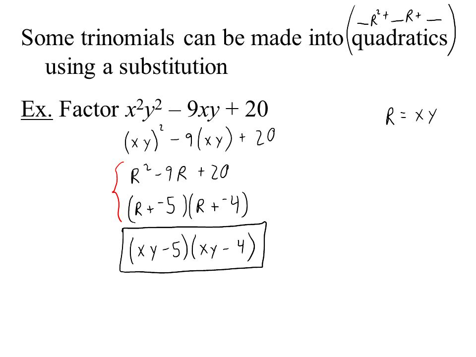 Some trinomials can be made into quadratics using a substitution