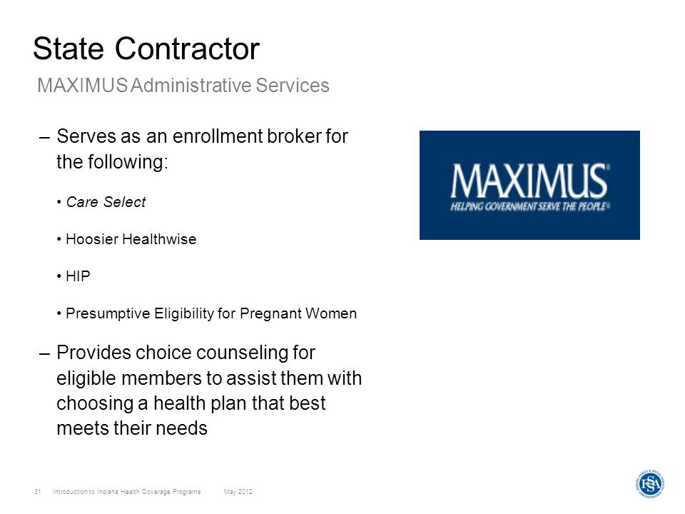 State Contractor MAXIMUS Administrative Services