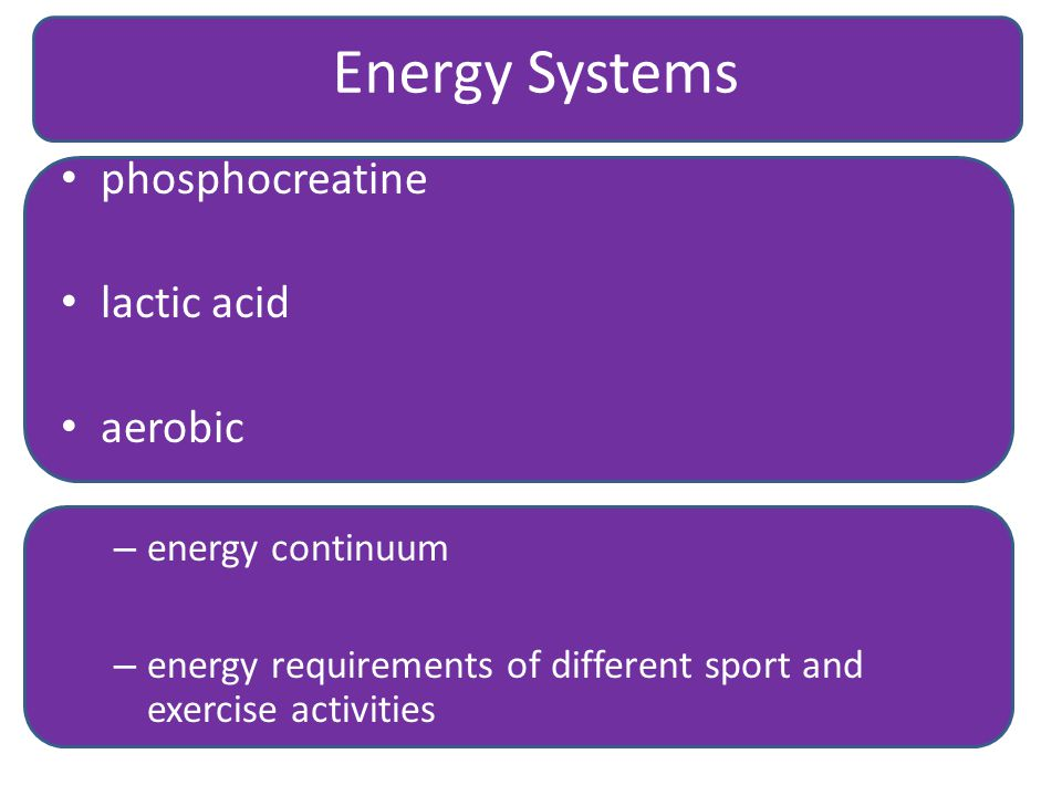 Energy Systems phosphocreatine lactic acid aerobic energy continuum