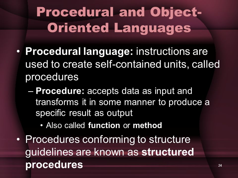Procedural and Object-Oriented Languages