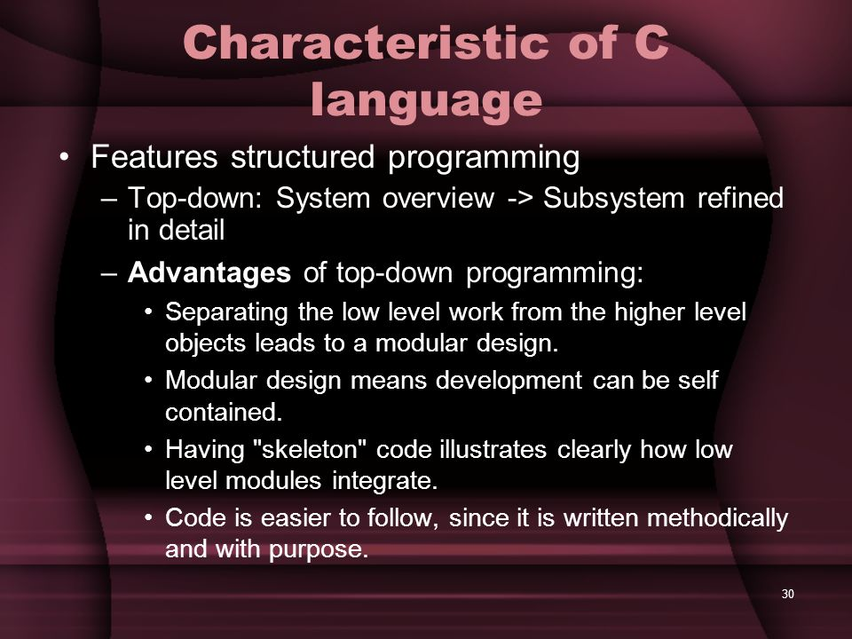 Characteristic of C language