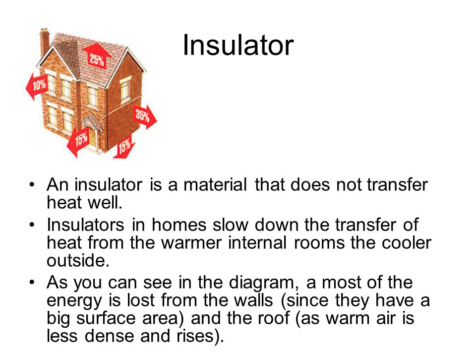 Insulator An insulator is a material that does not transfer heat well.