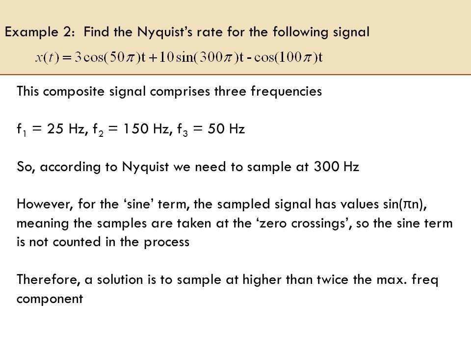 Example 2: Find the Nyquist's rate for the following signal