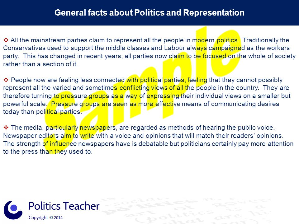 General facts about Politics and Representation