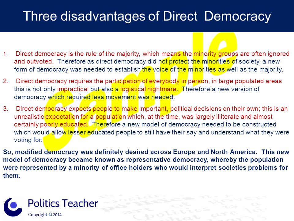 Three disadvantages of Direct Democracy