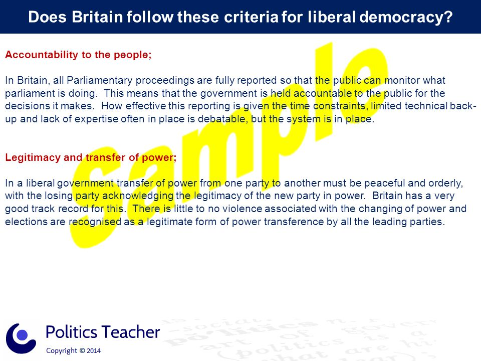 Does Britain follow these criteria for liberal democracy