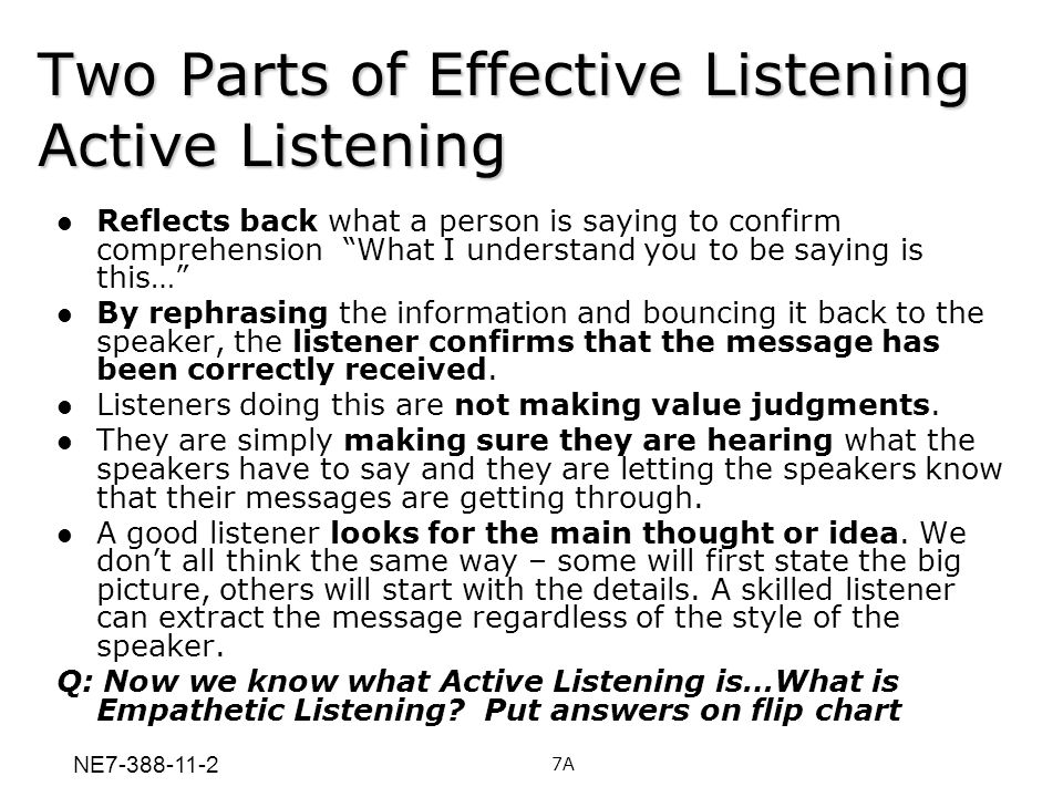 Two Parts of Effective Listening Active Listening