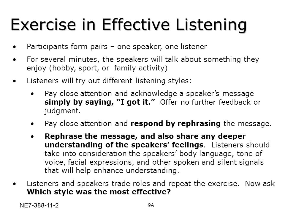 Exercise in Effective Listening