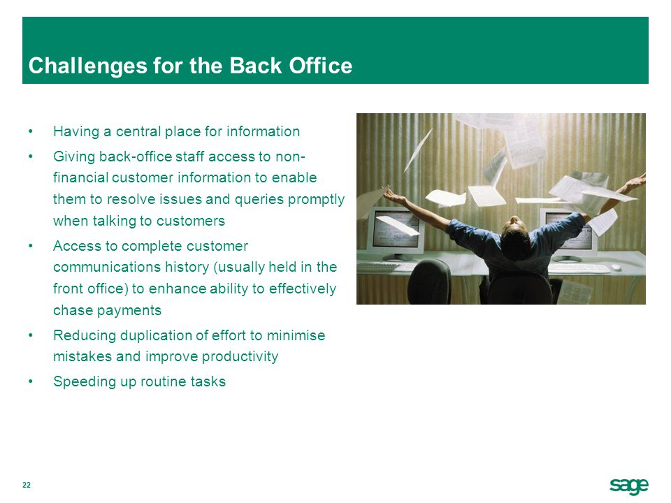 Challenges for the Back Office