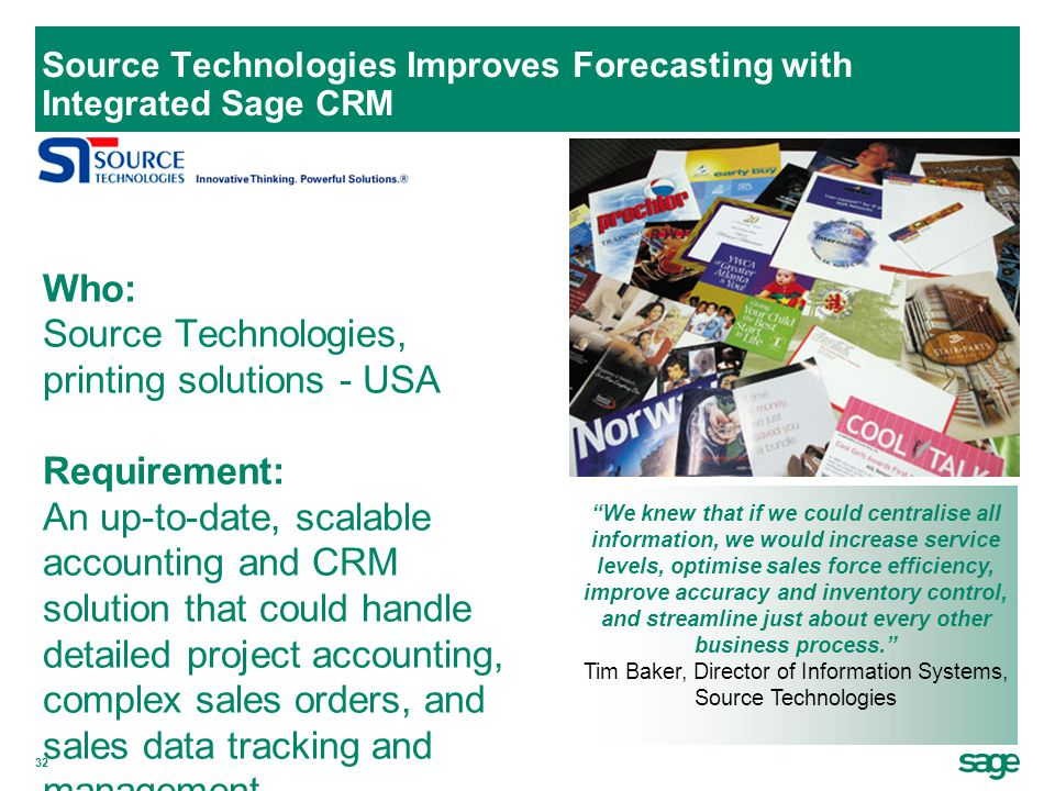 Source Technologies Improves Forecasting with Integrated Sage CRM