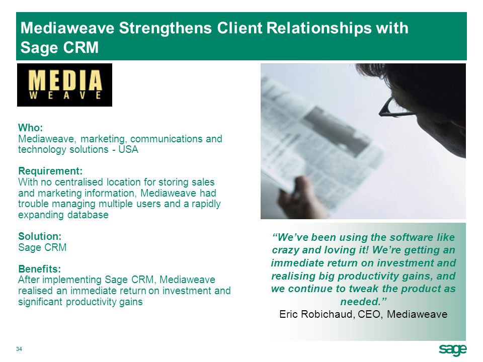 Mediaweave Strengthens Client Relationships with Sage CRM