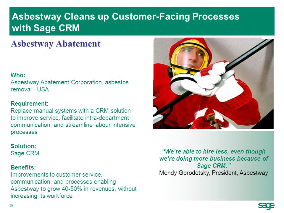Asbestway Cleans up Customer-Facing Processes with Sage CRM