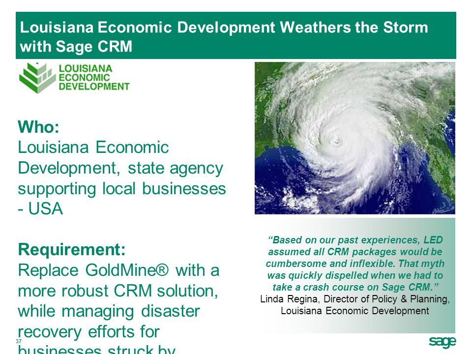 Louisiana Economic Development Weathers the Storm with Sage CRM