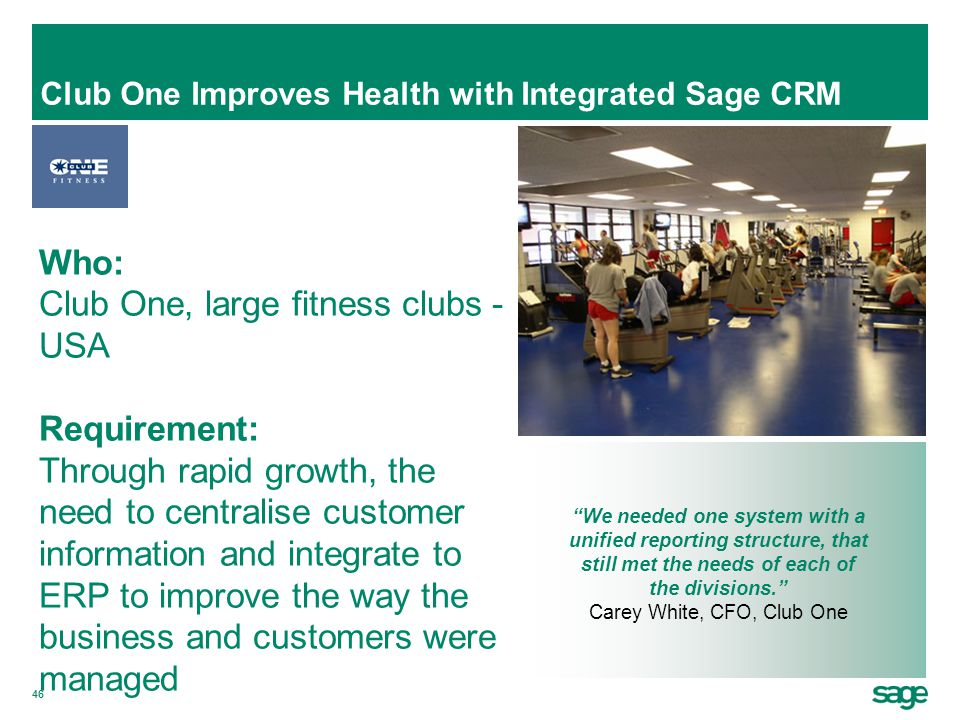 Club One Improves Health with Integrated Sage CRM