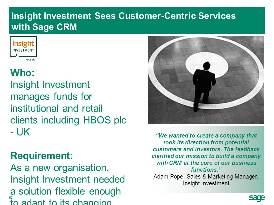 Insight Investment Sees Customer-Centric Services with Sage CRM