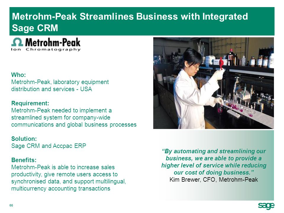 Metrohm-Peak Streamlines Business with Integrated Sage CRM