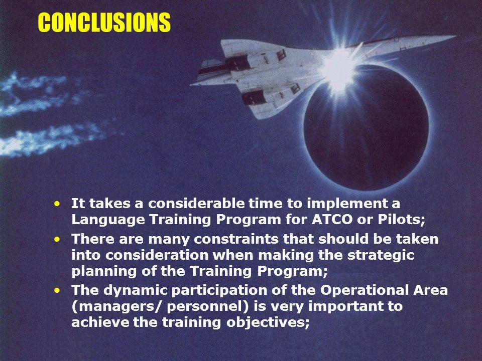 CONCLUSIONS It takes a considerable time to implement a Language Training Program for ATCO or Pilots;