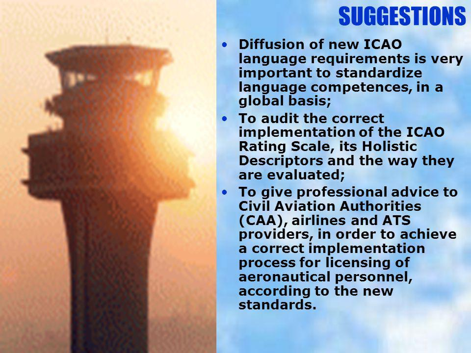 SUGGESTIONS Diffusion of new ICAO language requirements is very important to standardize language competences, in a global basis;