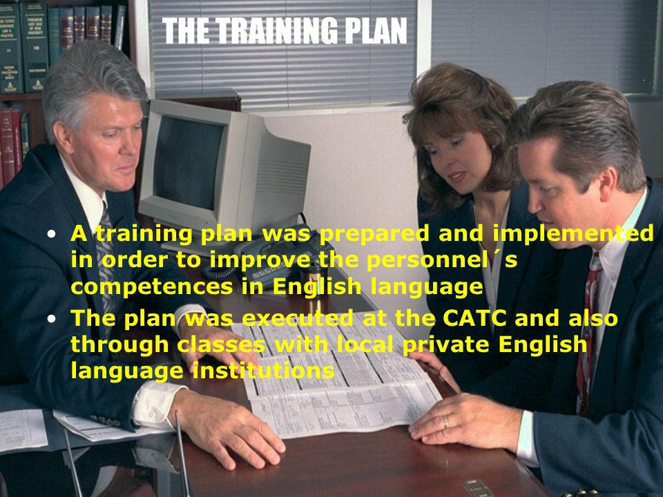 THE TRAINING PLAN A training plan was prepared and implemented in order to improve the personnel´s competences in English language.