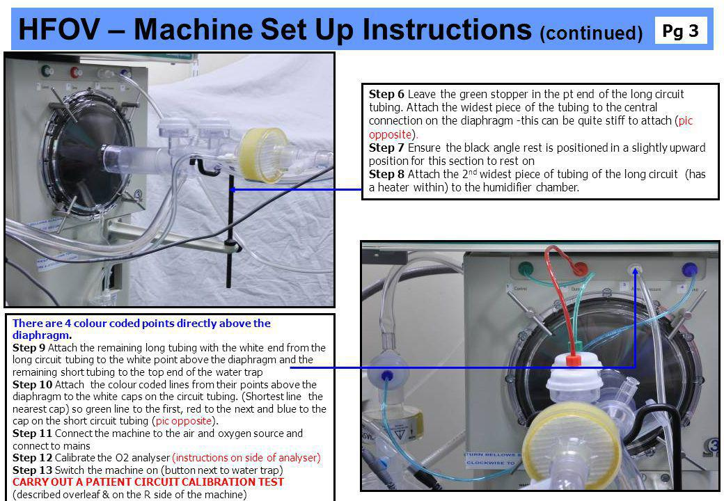 HFOV – Machine Set Up Instructions (continued)