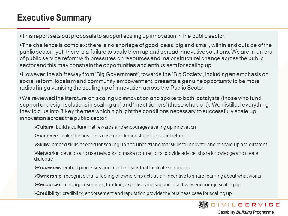 Executive Summary This report sets out proposals to support scaling up innovation in the public sector.