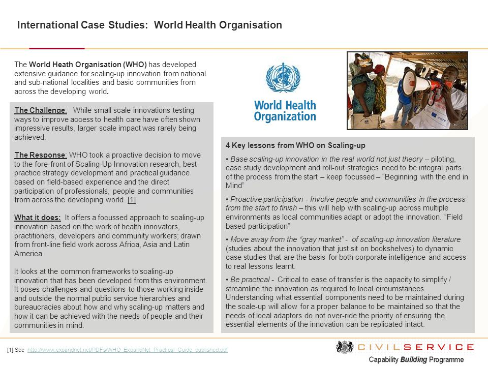 International Case Studies: World Health Organisation