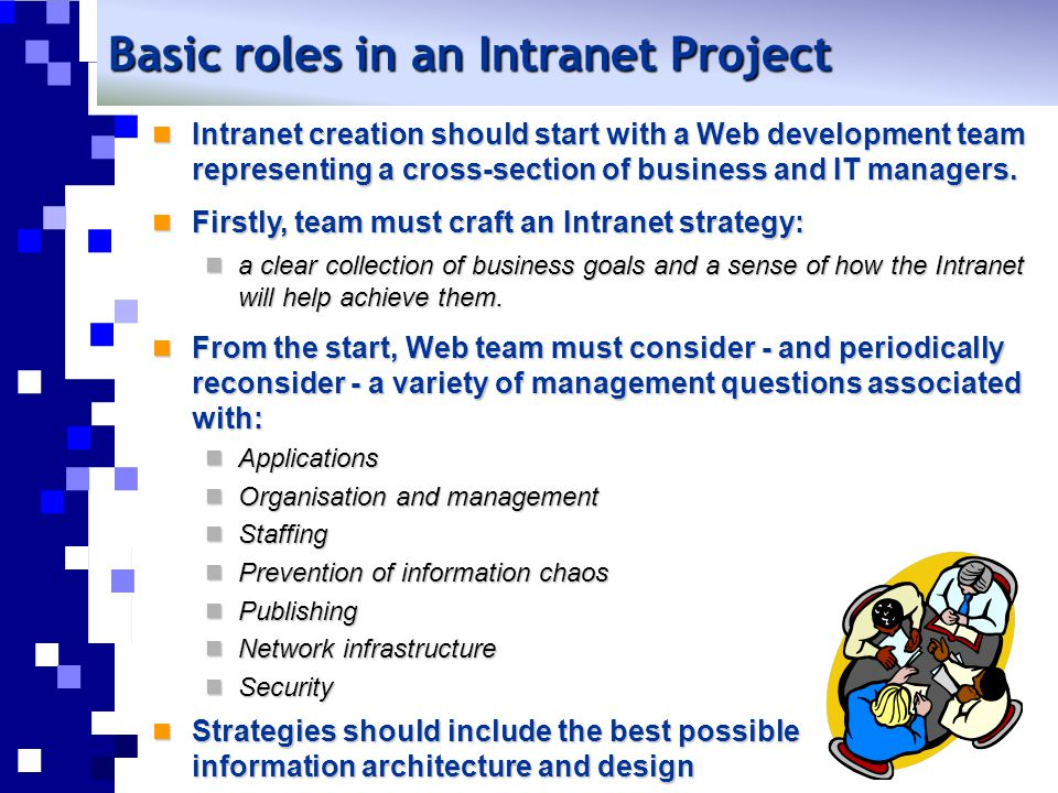 Basic roles in an Intranet Project