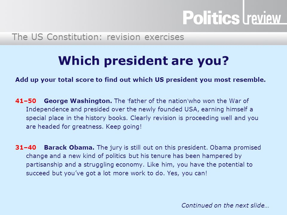 Which president are you