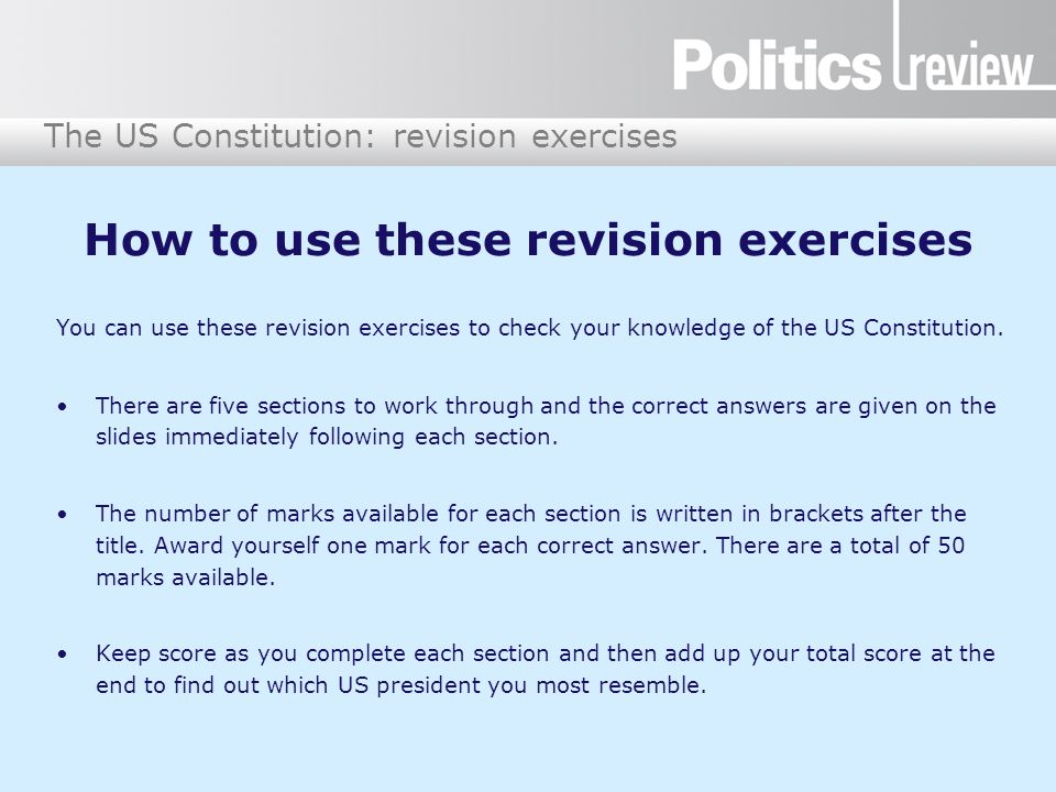 How to use these revision exercises