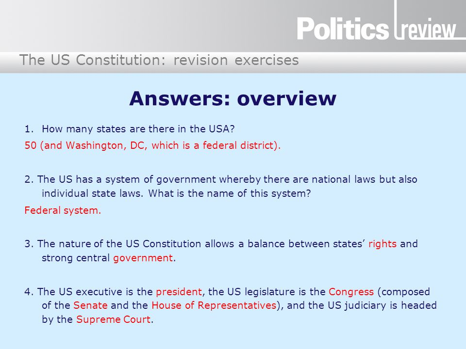 Answers: overview How many states are there in the USA