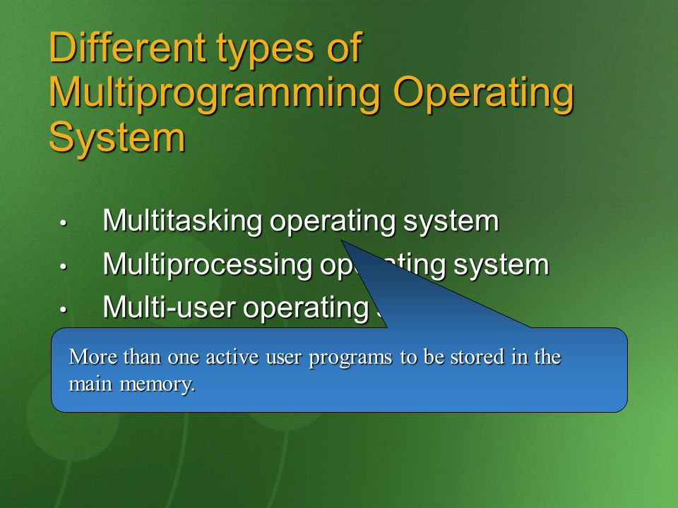 Different types of Multiprogramming Operating System