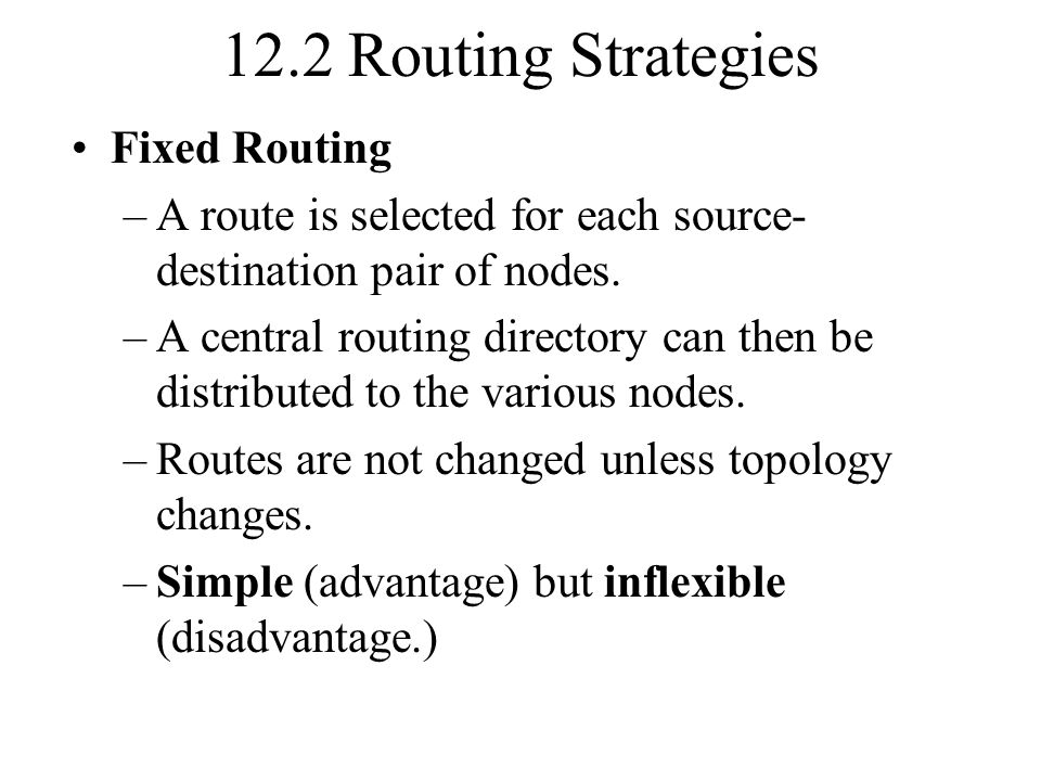 12.2 Routing Strategies Fixed Routing
