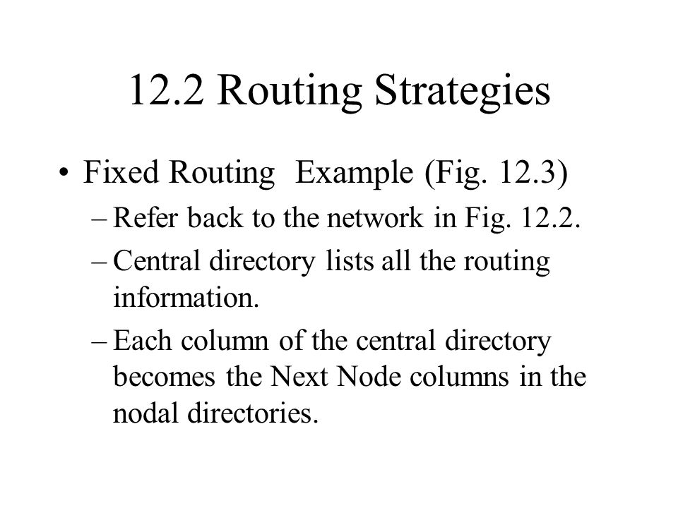 12.2 Routing Strategies Fixed Routing Example (Fig. 12.3)