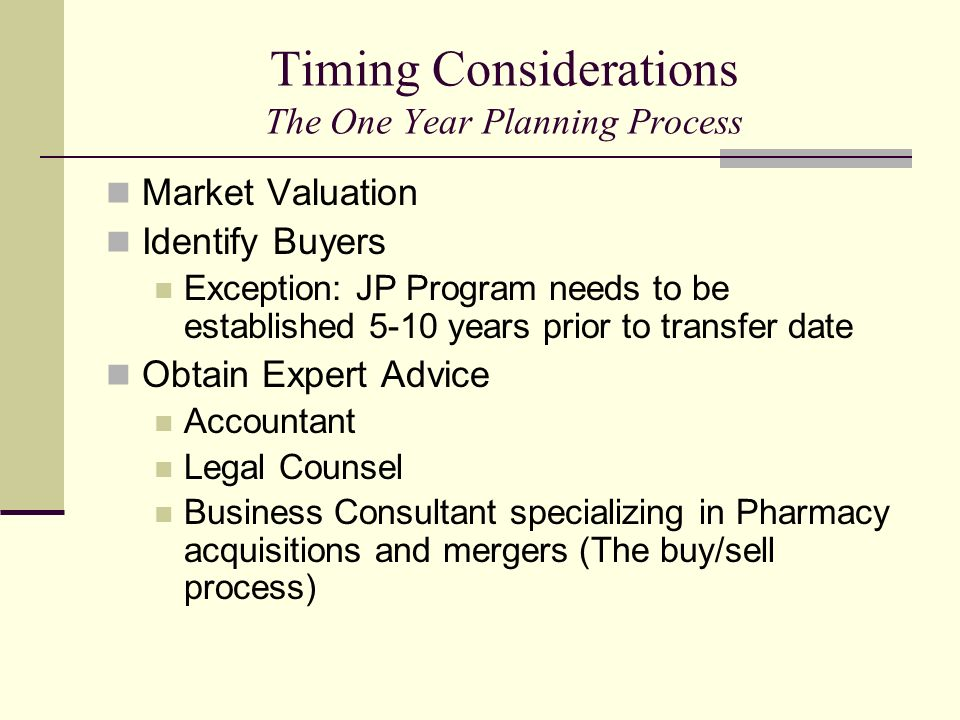 Timing Considerations The One Year Planning Process