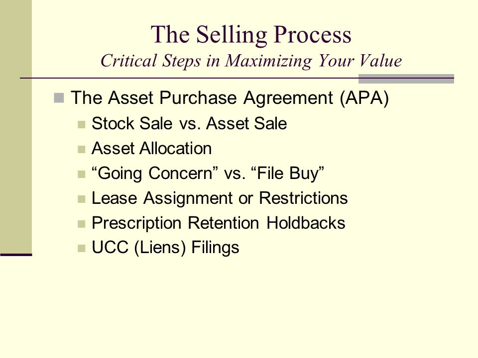 The Selling Process Critical Steps in Maximizing Your Value