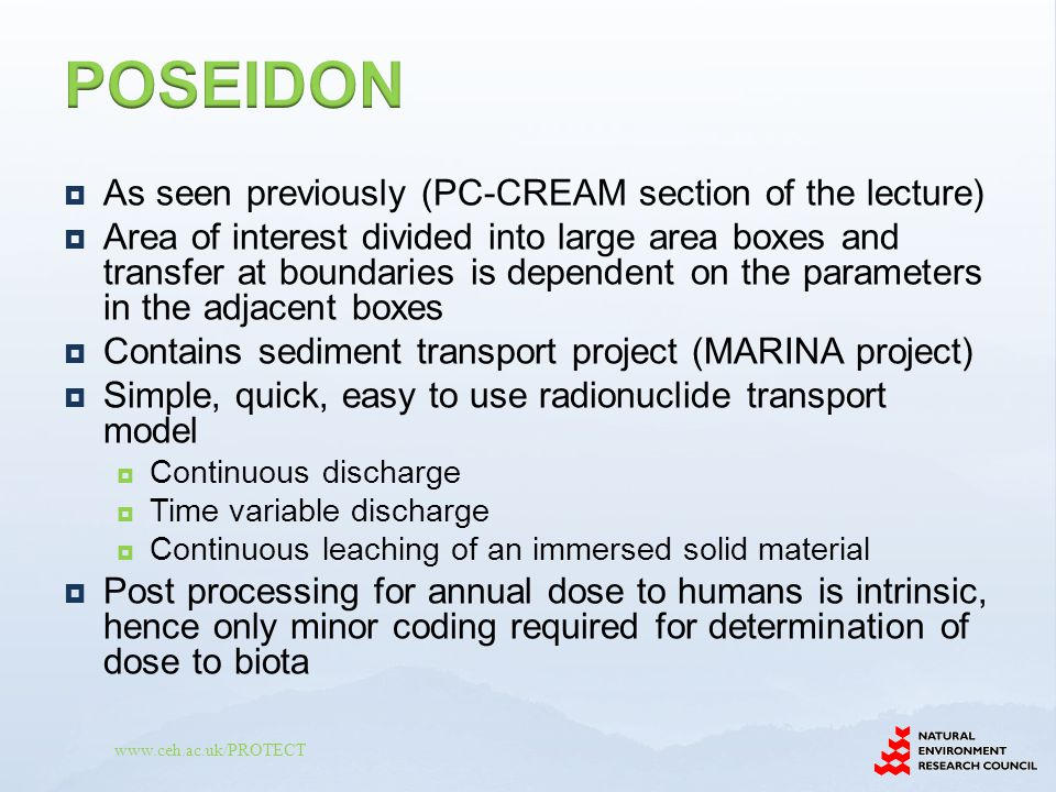 POSEIDON As seen previously (PC-CREAM section of the lecture)
