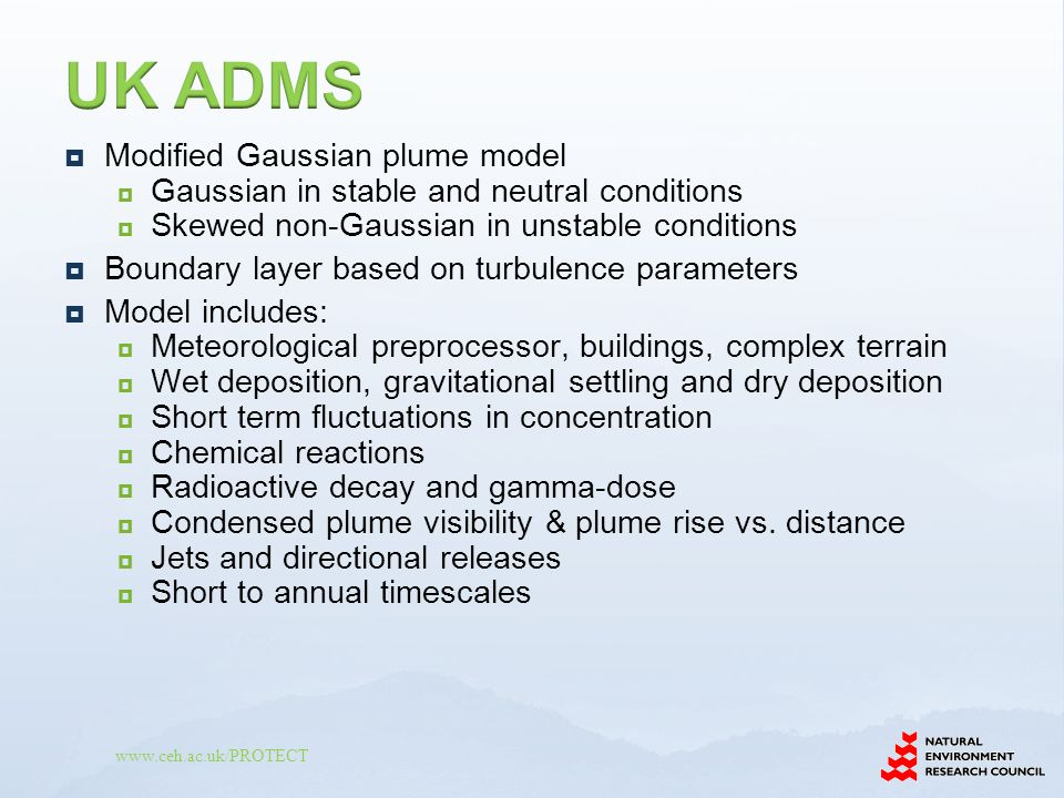 UK ADMS Modified Gaussian plume model
