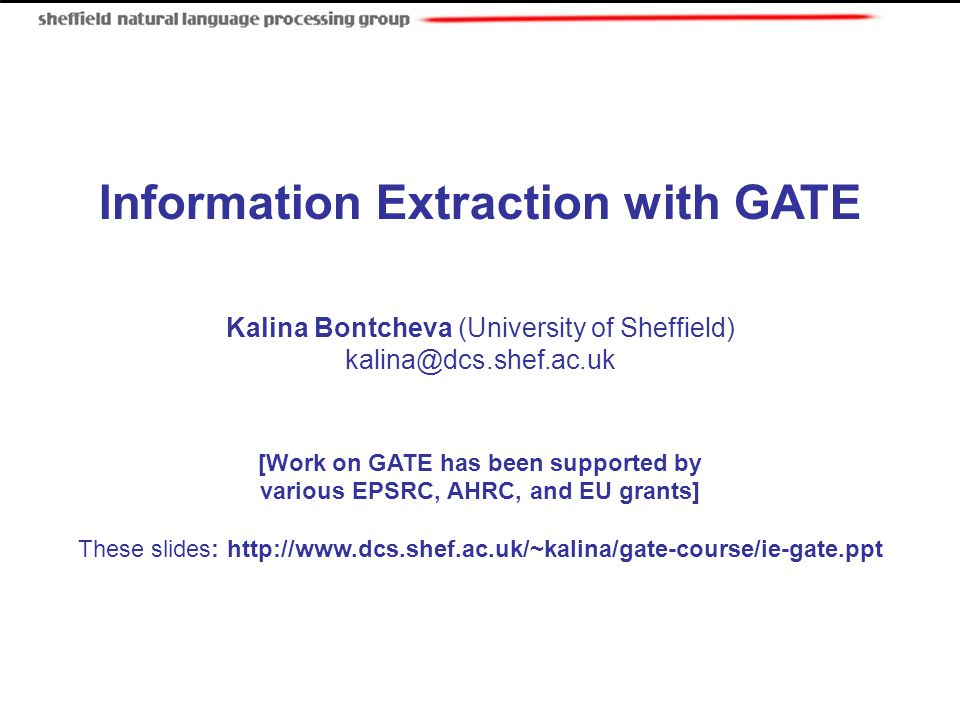 Information Extraction with GATE