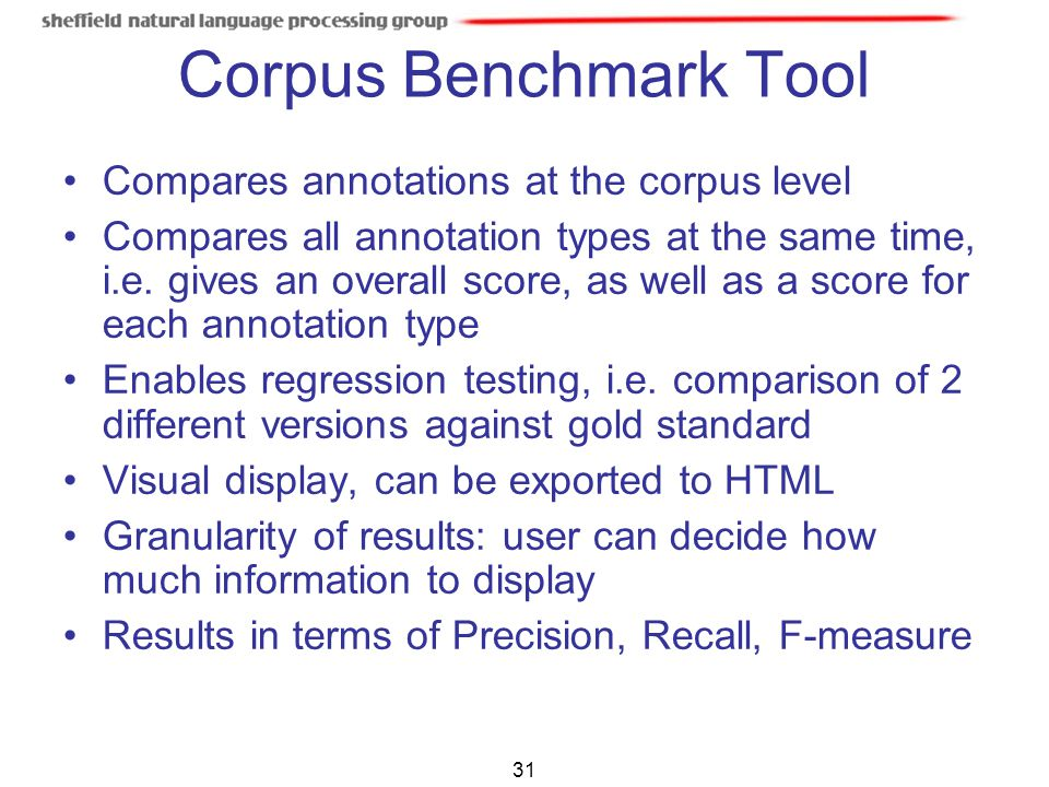 Corpus Benchmark Tool Compares annotations at the corpus level