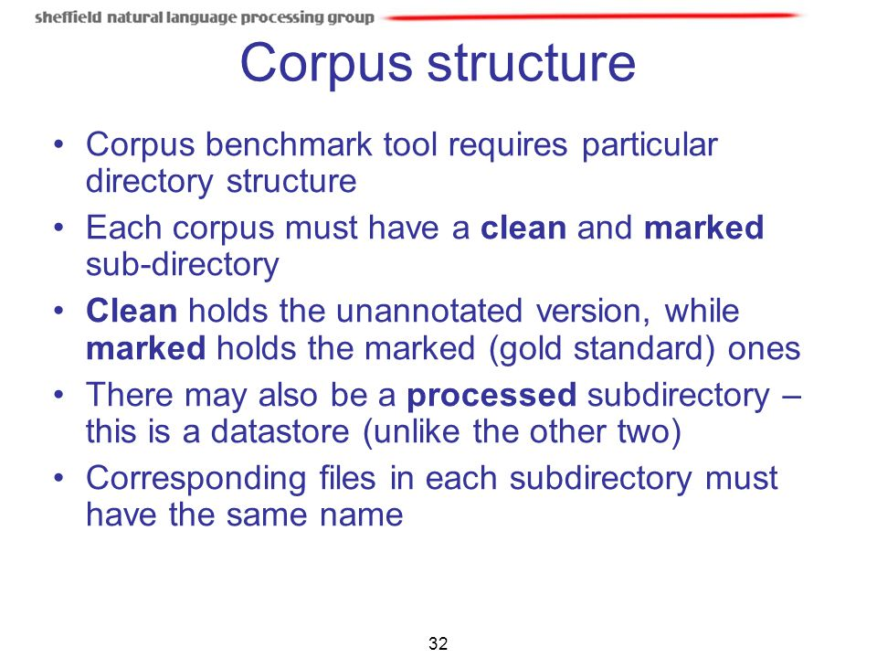 Corpus structure Corpus benchmark tool requires particular directory structure. Each corpus must have a clean and marked sub-directory.