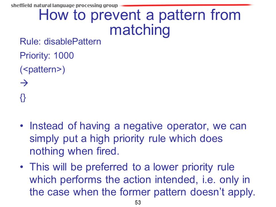 How to prevent a pattern from matching