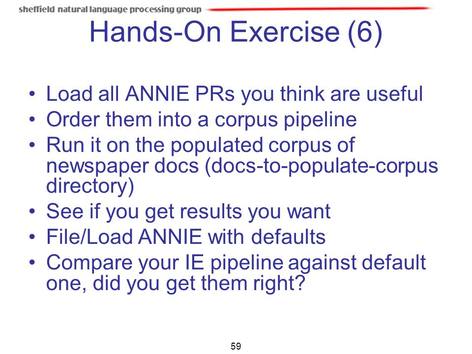 Hands-On Exercise (6) Load all ANNIE PRs you think are useful