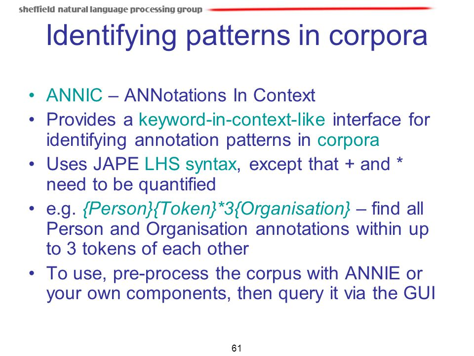 Identifying patterns in corpora
