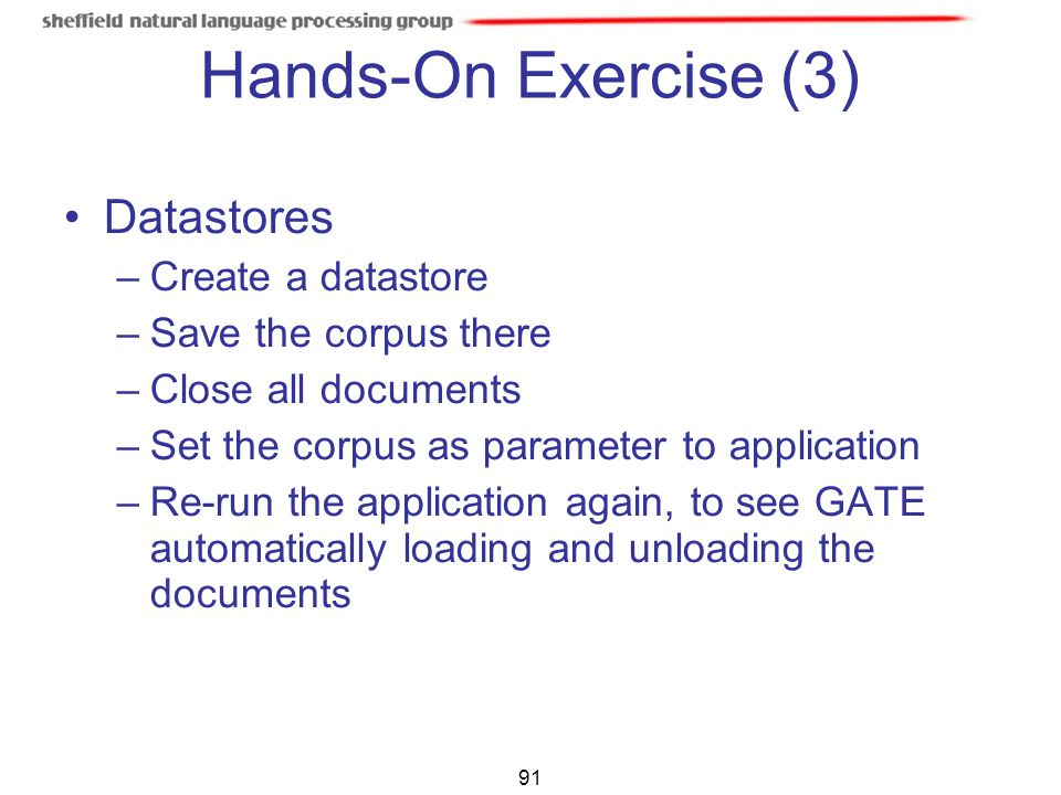 Hands-On Exercise (3)‏ Datastores Create a datastore