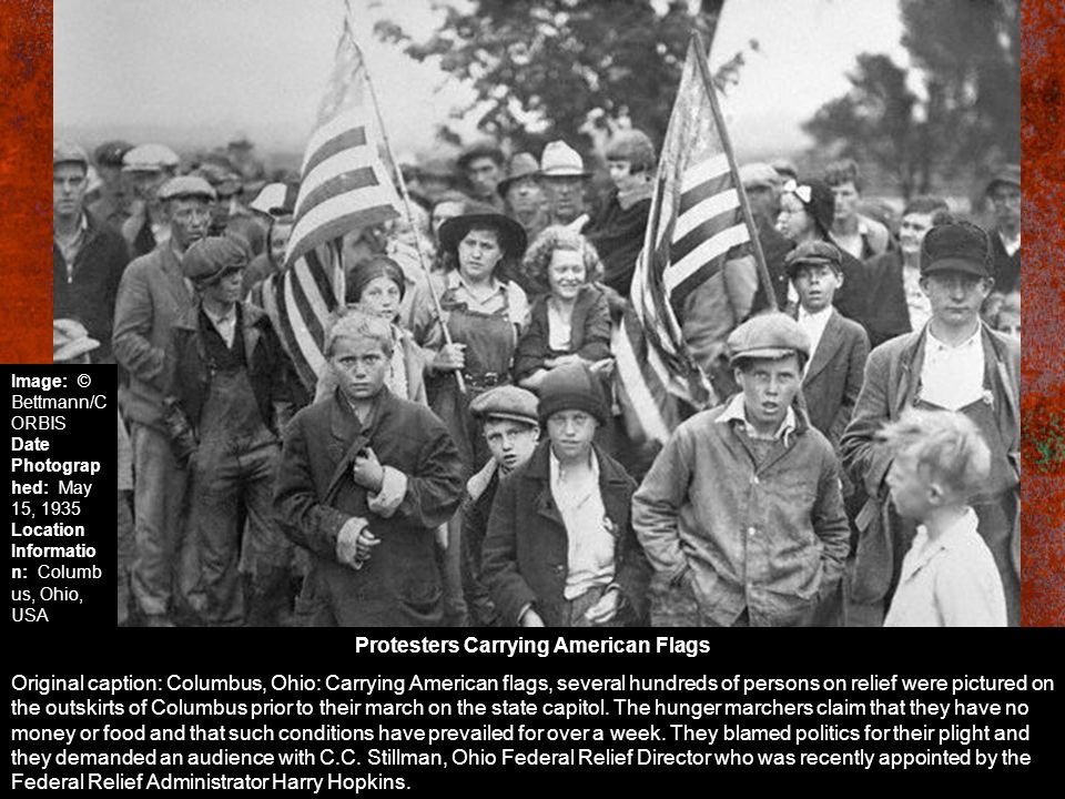 Protesters Carrying American Flags