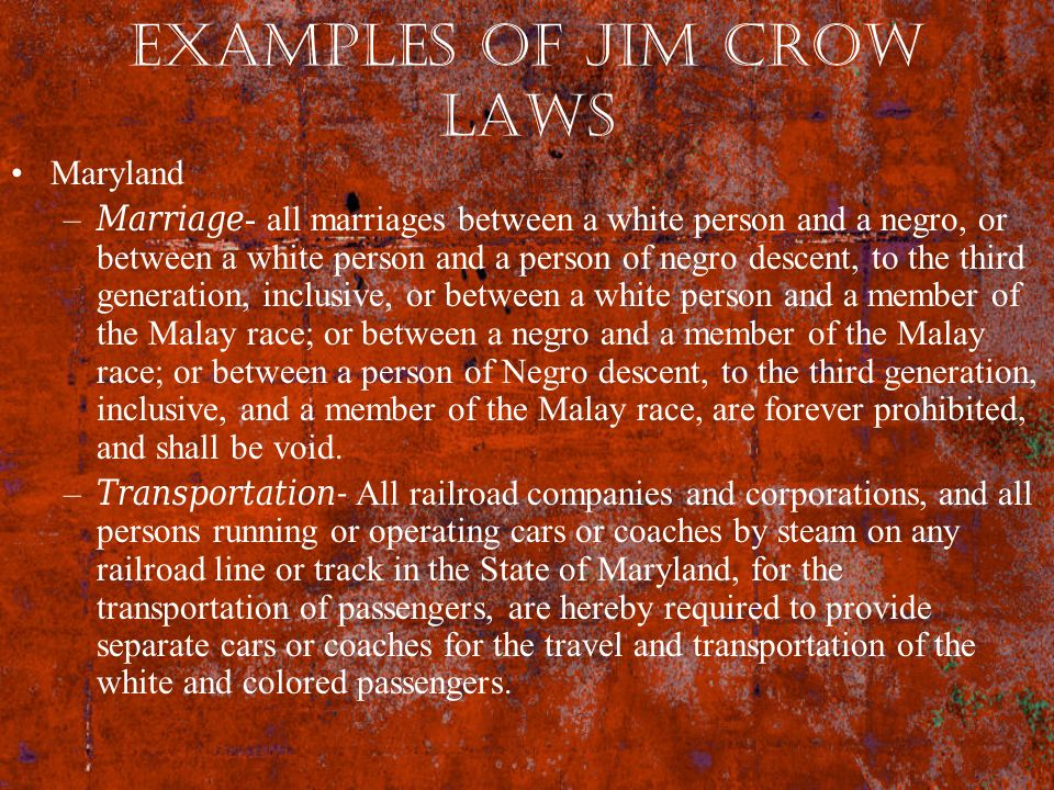 Examples of Jim Crow Laws