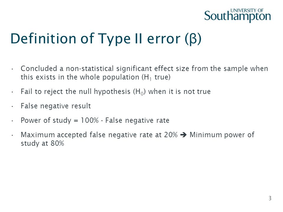 Definition of Type II error (β)