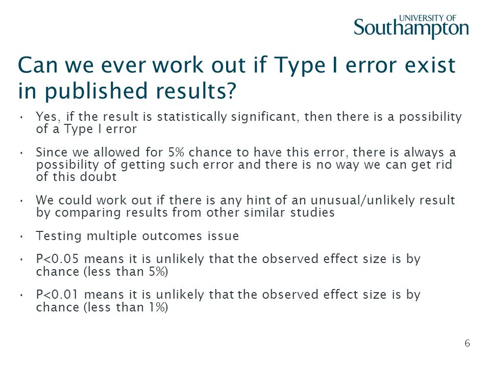 Can we ever work out if Type I error exist in published results
