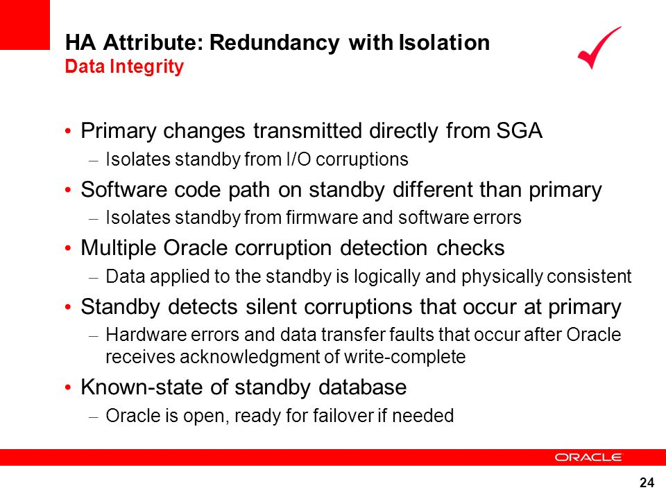 HA Attribute: Redundancy with Isolation Data Integrity